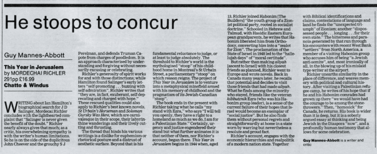 Richler. M, This Year in Jerusalem GM-A The Guardian 1994.png